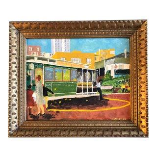 Original Folk Art San Francisco Trolley 1960's Painting For Sale