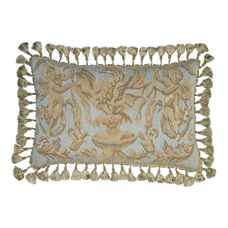 Aubusson Neoclassical Putti Pillow For Sale