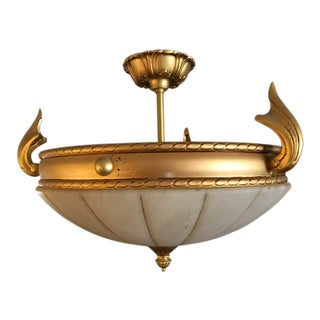 Mediterranean Alabaster and Gold Pendant Light