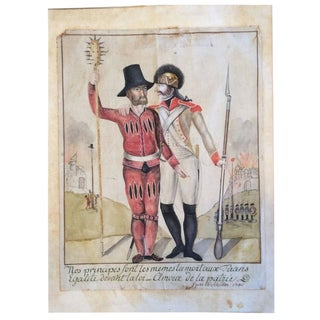 18th Century French Swiss Military Watercolor Drawing, Signed and Dated For Sale