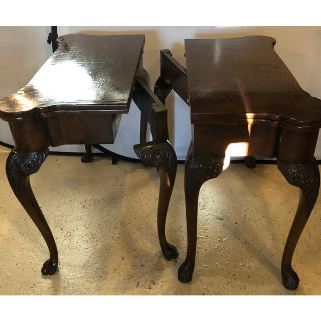 Pair of 18th-19th Century Georgian Compatible Card / Game or Flip Top Tables For Sale - Image 11 of 13