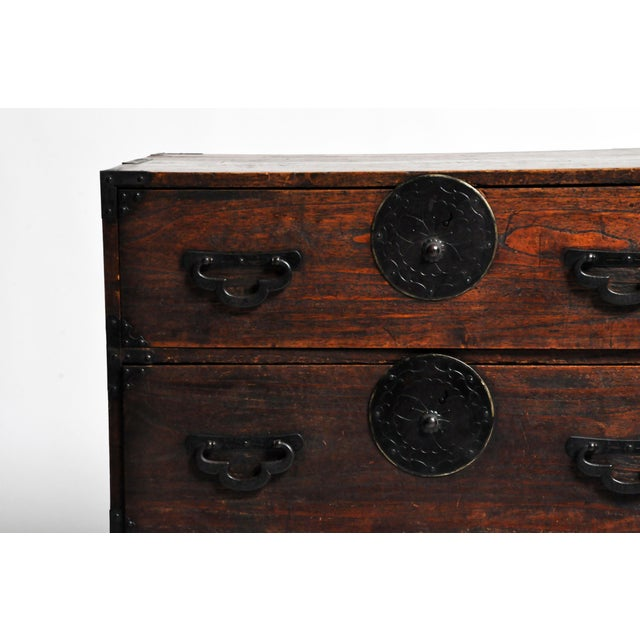 Metal Japanese Tansu With Black Color Hardware For Sale - Image 7 of 13