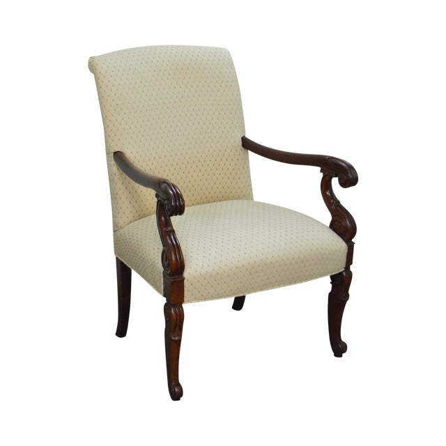 Hickory Chair Solid Mahogany Frame Empire Style Arm Chair - Image 1 of 10