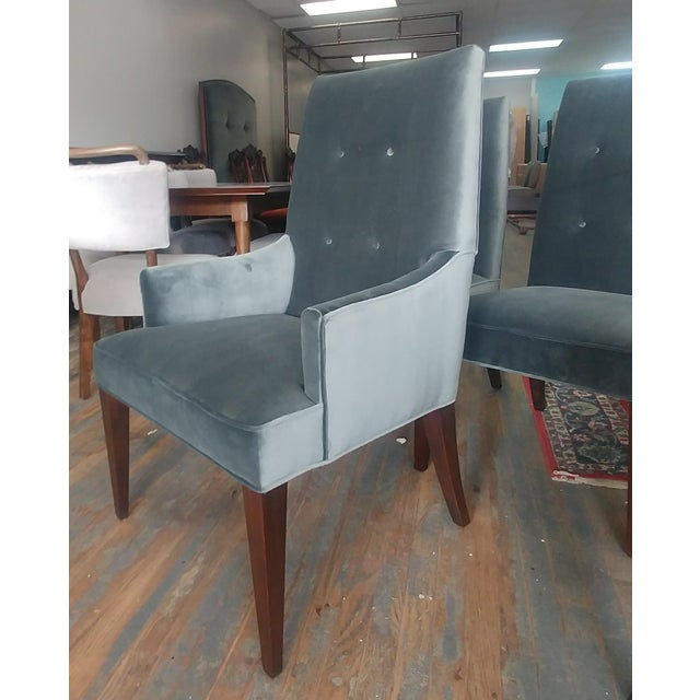 Henredon Mid-Century Modern Henredon Furniture Barbara Barry Slate Grey Velvet Dining Chairs - Set of 6 For Sale - Image 4 of 12