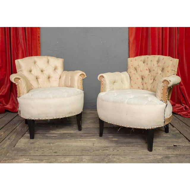 Pair of Small French Art Deco Style Tufted Armchairs - Image 2 of 10
