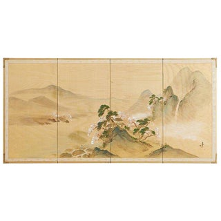 Japanese Four-Panel Silk Landscape Byobu Screen For Sale