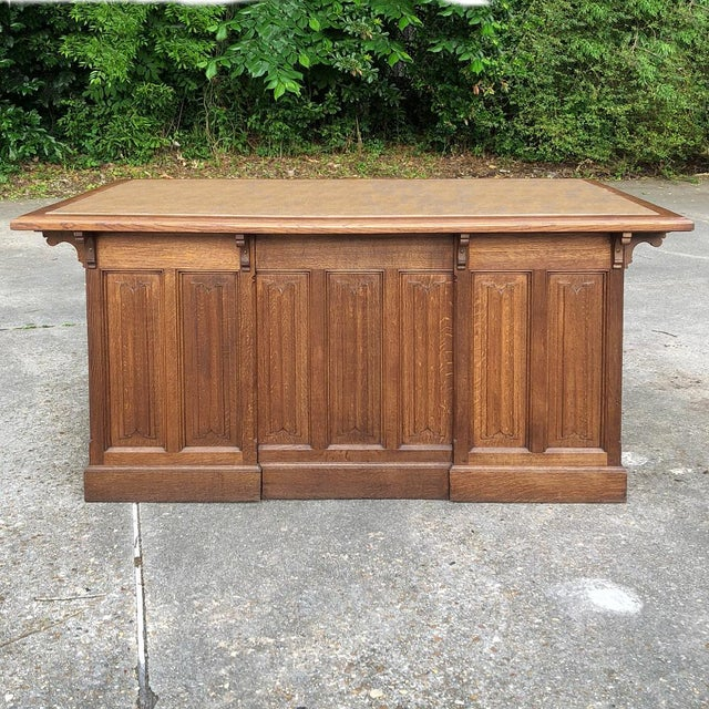 Gothic 19th Century Gothic Oak Executive Desk For Sale - Image 3 of 13
