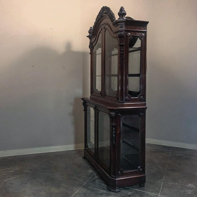 19th Century French Napoleon III Period Mahogany Bookcase ` Vitrine For Sale - Image 10 of 11