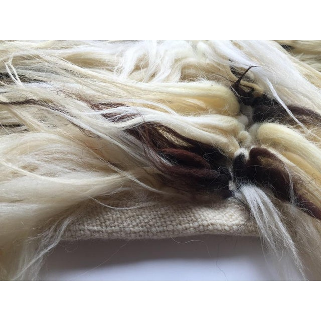"""Handmade Natural Wool Shaggy Tulu Rug - 3'6"""" X 2'6"""" For Sale In San Francisco - Image 6 of 8"""