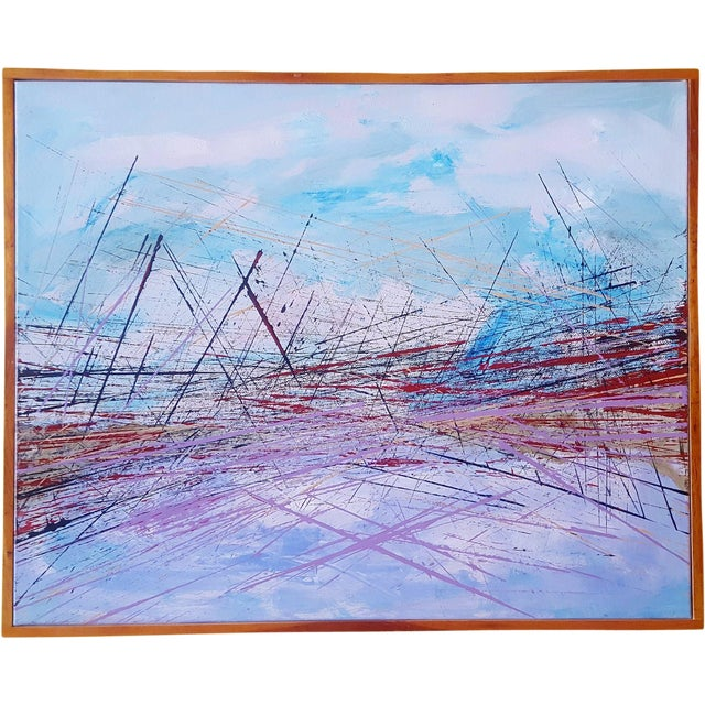 """Vintage Mid-Century Abstract """"Bridge"""" Painting For Sale - Image 5 of 5"""