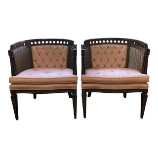 Vintage Mid Century Caned Barrel Chairs- A Pair For Sale
