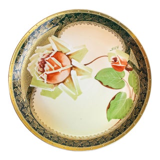 1950s Imperial Crown Austria Decorative China Plate With Botanical Motif For Sale