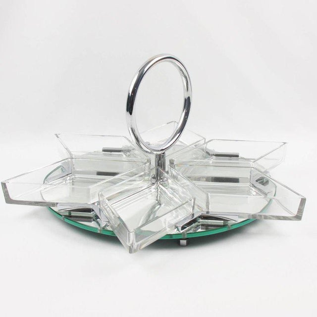French Art Deco Cocktail Set Barware Mirror Serving Tray and Dishes For Sale - Image 4 of 10