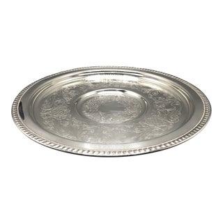 Vintage Sheridan Taunton Silversmiths Ltd. 17 1/2 Silver Round Serving Tray on Pedestal For Sale