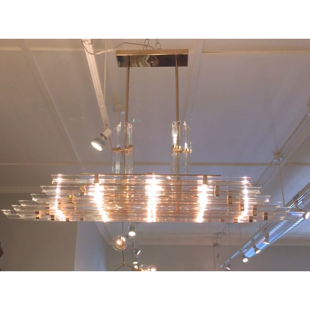 1970's Lucite and Brass Pendant Chandelier - Image 2 of 11