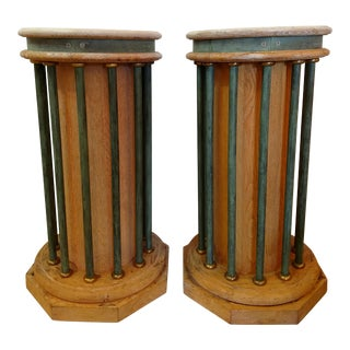 Memphis Style Wood and Metal Pedestals - a Pair, Vintage For Sale