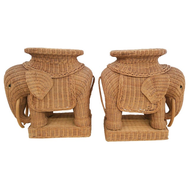 Hollywood Regency Wicker Elephant - A Pair - Image 1 of 6