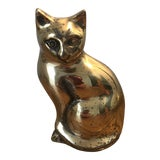 Image of Mid Century Brass Cat Figure For Sale