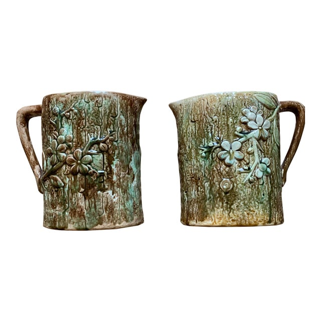 Antique English Majolica Pitchers- A Pair For Sale