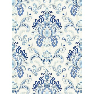 Sample, Scalamandre Ava Damask Embroidery, Porcelain For Sale