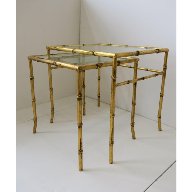 Metal Italian Gold Gilt Bamboo and Glass Nesting or End Tables, Set of 2 For Sale - Image 7 of 12