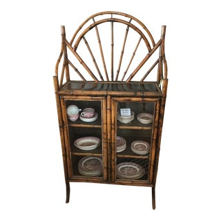 18th Century Boho Chic Bamboo China Cabinet For Sale