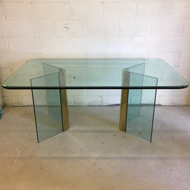 Pace Glass and Brass Dining Table Desk For Sale - Image 11 of 11