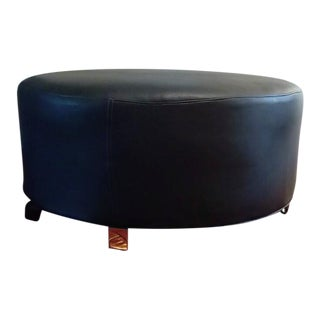 Gambrell Renard Round Leather Ottoman For Sale