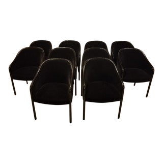 1980s Vintage Ward Bennett for Brickel Associates Walnut & Velvet Mohair Chairs - Set of 10 For Sale