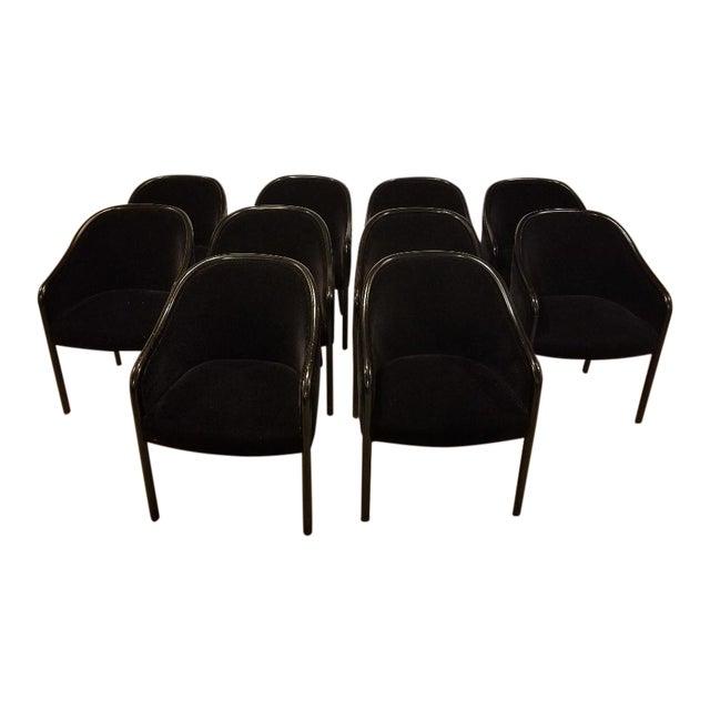 1980s Vintage Ward Bennett for Brickel Associates Walnut & Velvet Mohair Chairs - Set of 10 For Sale