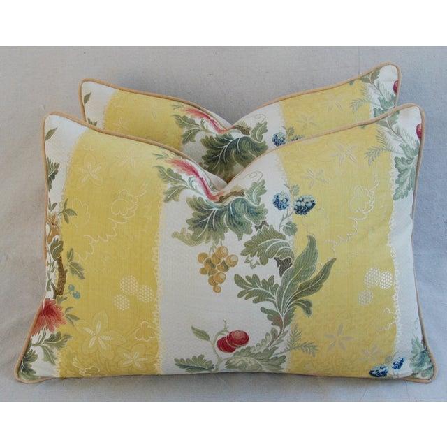 "26"" X 18"" Designer Scalamandre Silk Lampas Feather/Down Pillows - Pair - Image 2 of 10"