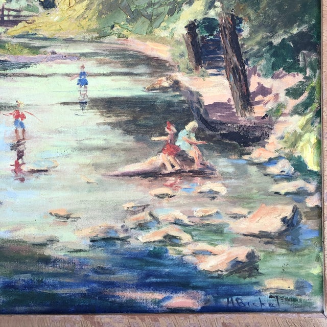 Vintage signed M.Bickel Landscape oil painting on board with children playing in stream scene. Frame is not in good...