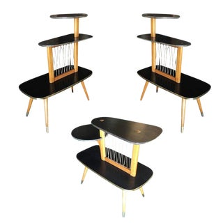 1950s Three-Tier Midcentury String Art Center Side Tables - Set of 3 For Sale