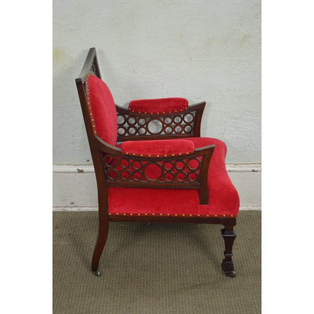 Antique 19th Century Aesthetic Mahogany Arm Chair (possibly Herter Brothers) - Image 3 of 11