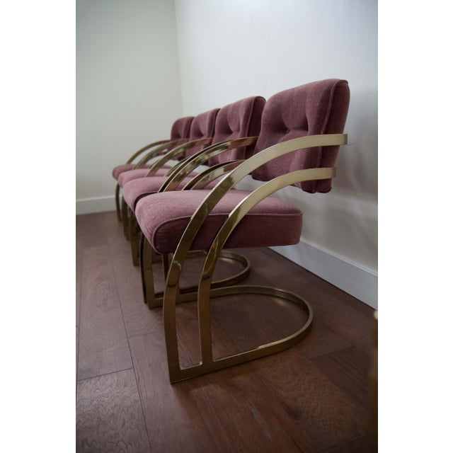 Milo Baughman Brass Cantilever Chairs - Set of 4 - Image 4 of 4