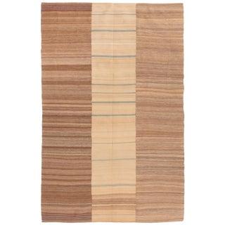 Vintage Geometric Beige and Brown Multi-Color Wool Kilim Rug - 5′6″ × 8′5″ For Sale