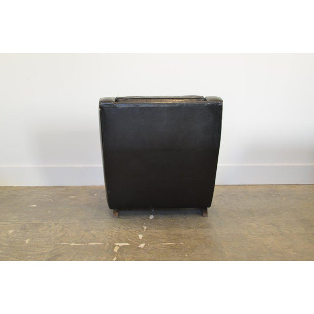 Mid 20th Century Vintage Black Leather Comfortable XL Lounge Chair For Sale - Image 5 of 6