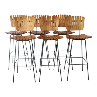Set of 6 Arthur Umanoff Bar Stools For Sale