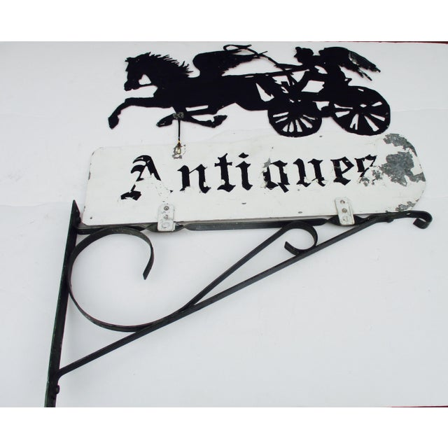 """Rusty Iron """"Antiques"""" Trade Sign Pegasus Horse - Image 2 of 11"""