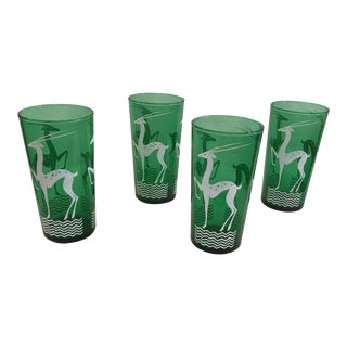 Emerald Green Gazelle Highball Glasses - Set of 4 For Sale