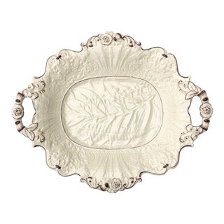 1840's Shaped Cream Relief Dish For Sale