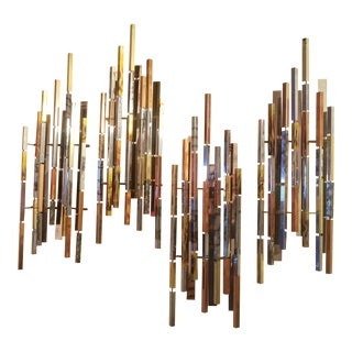 "Ray H. Berger Mid-Century Modern Brutalist ""Skyscraper"" Multi Metal Wall Sculpture - 4 PC. For Sale"