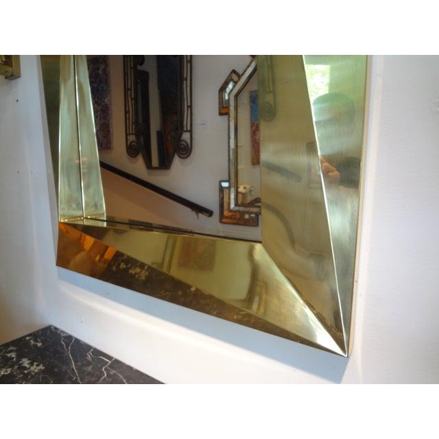 Italian Italian Brass Modernist Geometric Mirror For Sale - Image 3 of 10