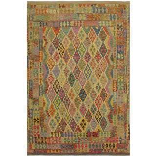 Ted Blue/Beige Hand-Woven Kilim Wool Rug -6'7 X 9'6 For Sale