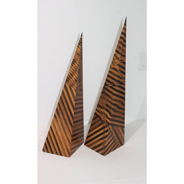 Wood Vintage Parquetry Wood Obelisks - Set of 2 For Sale - Image 7 of 13