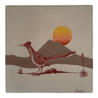 Mid Century Vintage Textile Signed Wall Art For Sale