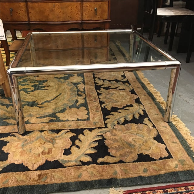 Chrome & Glass Square Coffee Table - Image 3 of 6