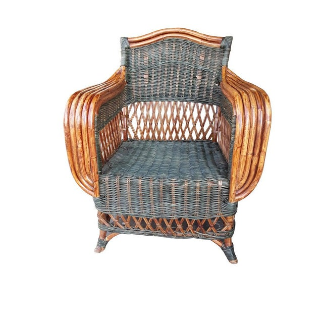 "1940s Art Deco Wicker & Rattan Armchair and Ottoman President's Style Deco Green and Natural Wicker Armchair and Footstool French ""Grange"" Rattan Armchair For Sale - Image 5 of 10"