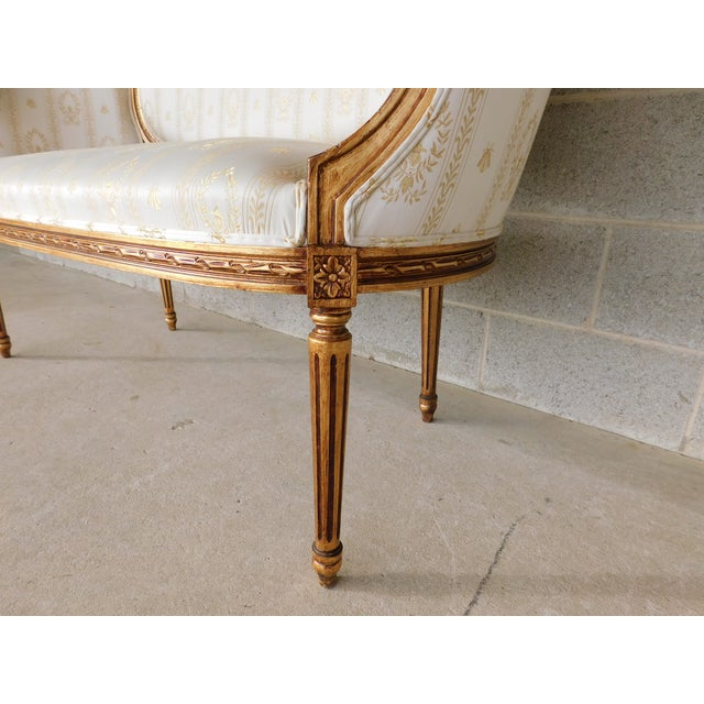 """Quality Louis XVI Style Gilt Frame Settee Sofa 57""""w For Sale - Image 4 of 13"""