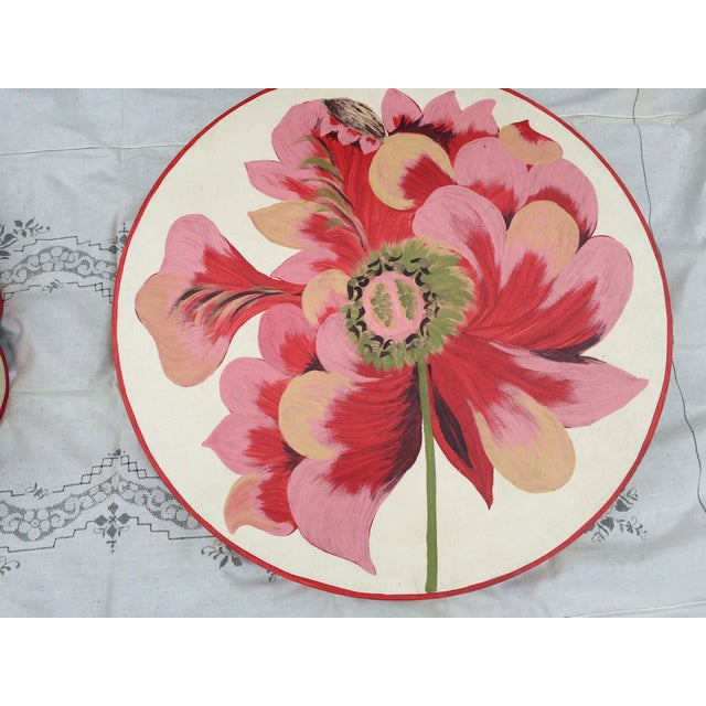 Metal Floral Painted Side Table Cover - Image 4 of 10